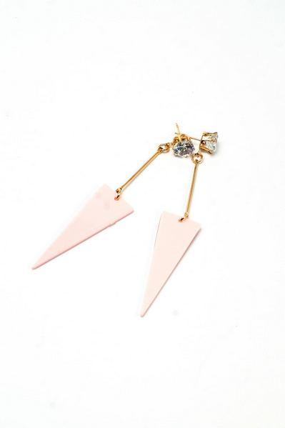 Серьги хай-тек с подвеской розовый треугольник