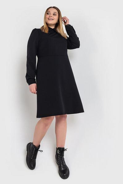 Черное платье до колен из костюмной ткани большой размер