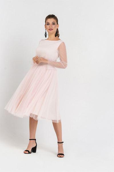 Вечернее платье с пышной юбкой пудровая сетка