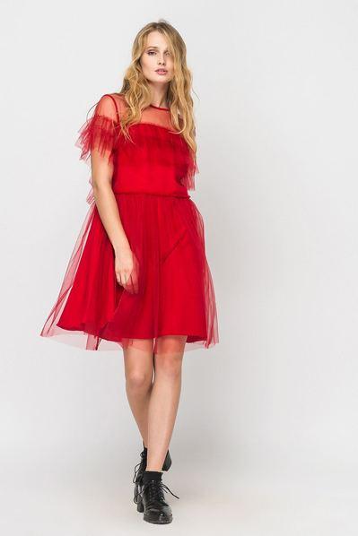 Красное платье мини с оборками