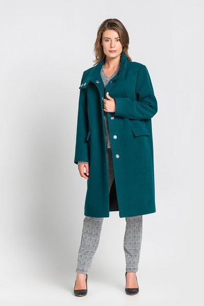 Женское пальто прямое с воротником стойкой из кашемира изумрудное