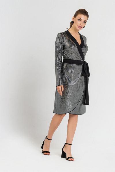 Серебряное платье с запахом в пайетки