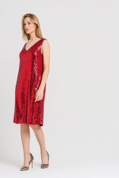 Платье майка деми мини-пайетки красное