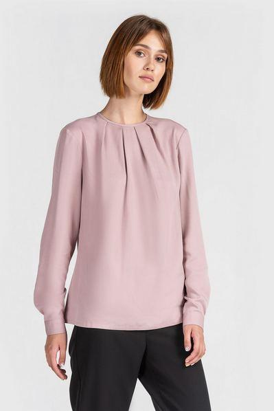 Штапельная блузка со сборкой фрезовая