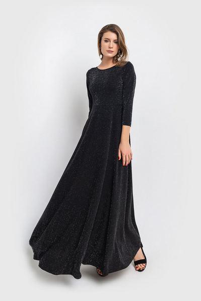 Вечернее платье макси черное с люрексом и юбкой полусолнце