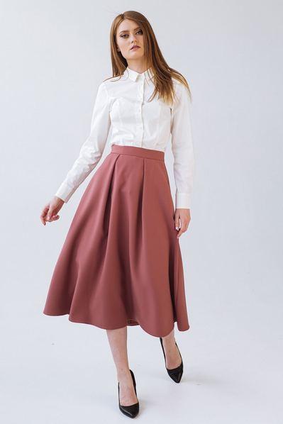 Женская юбка со складками фрезовая