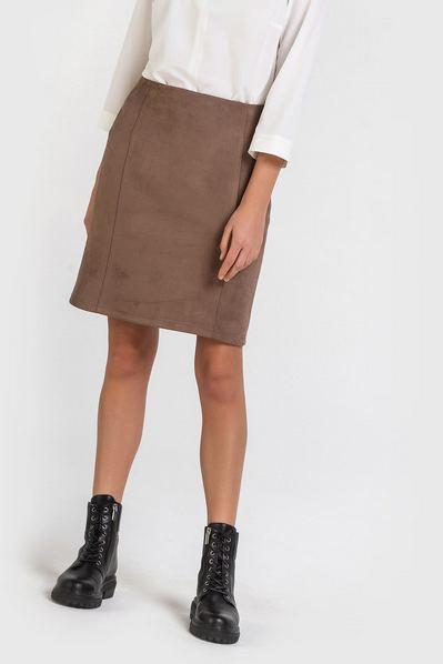 Замшевая юбка мини цвета мокко