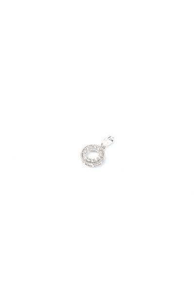 Кулон круг серебристый с белым цирконием