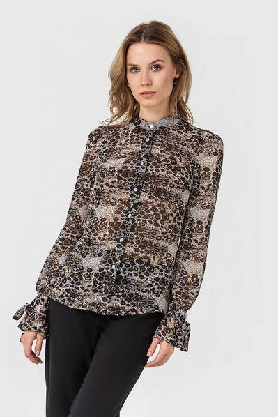 Леопардовая блузка с завязками на рукавах кофейная