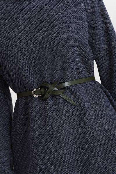 Кожаный ремень женский темно-зеленый