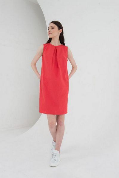 Кораловое платье льняное А-силуэта