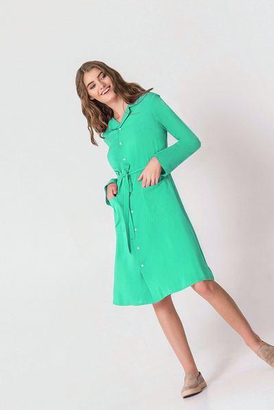 Мятное платье-рубашка с накладными карманами