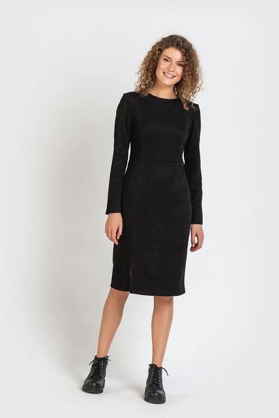 Черное платье футляр замшевое