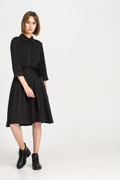 Черное платье-рубашка штапельное с юбкой-трапецией