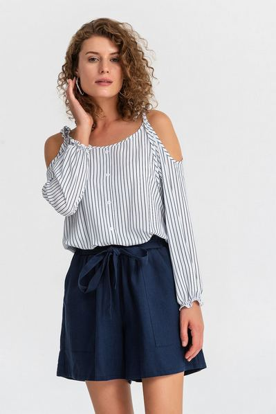 Блуза с открытими плечами на резинке в синюю полоску