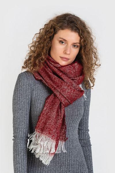 Теплый шарф бордовый меланж