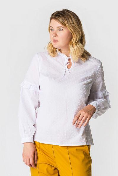 Блуза из батиста с пышными рукавами белая большой размер