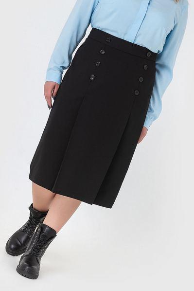 Черная юбка карандаш с пуговицами большой размер