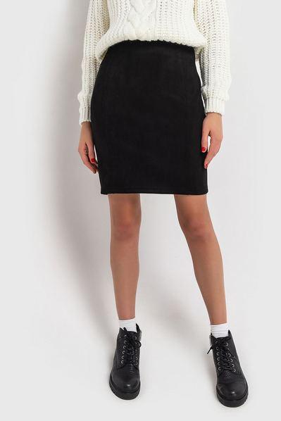 Черная юбка мини замшевая