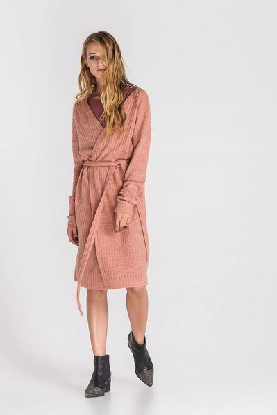 Фрезовое платье-кардиган