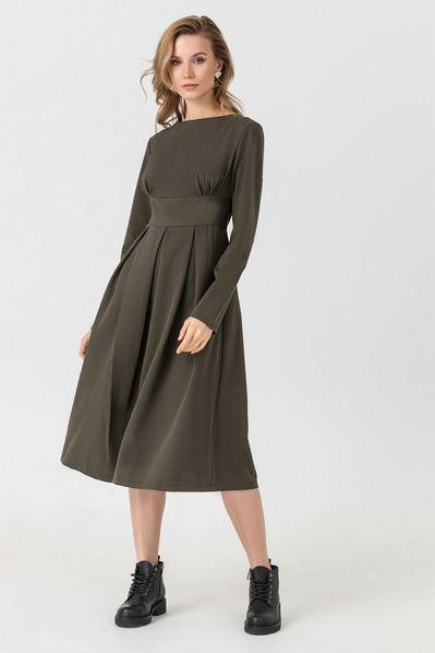 Платье миди цвета хаки из костюмной ткани