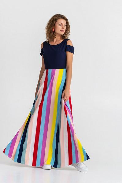 Длинное разноцветное платье в полоску