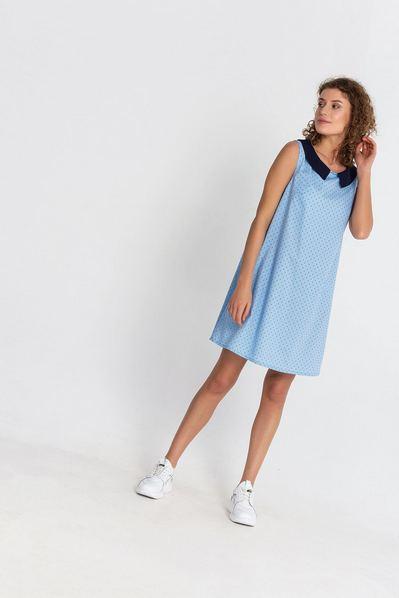Мини платье с принтом «морской» на небесном фоне