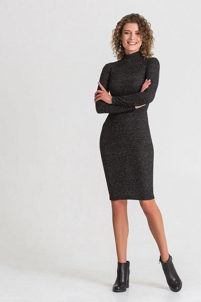Черное трикотажное платье-гольф с люрексом