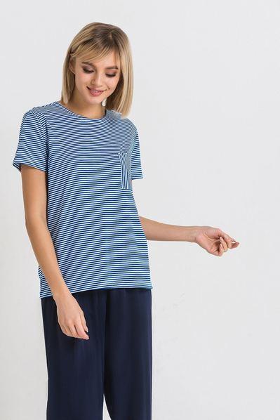 Темно-синяя трикотажная футболка с карманом в белую полоску