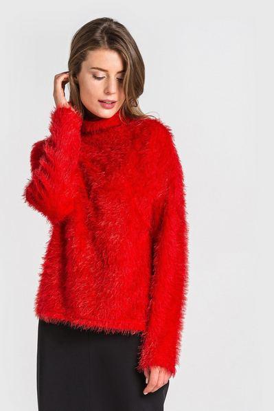 Трикотажный свитер с широкой горловиной с ворсом ярко-ягодный