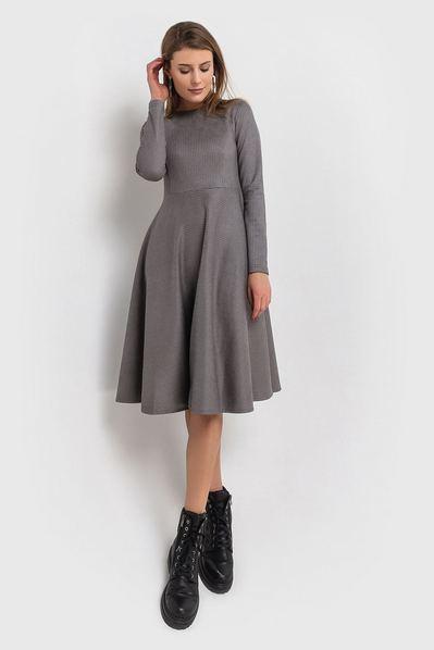 Замшевое платье с юбкой полусолнце принт гусиная лапка