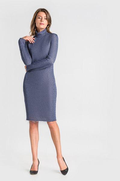 Трикотажное платье-гольф с люрексом темно-синее