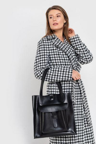 Черная сумка кожаная с большим карманом
