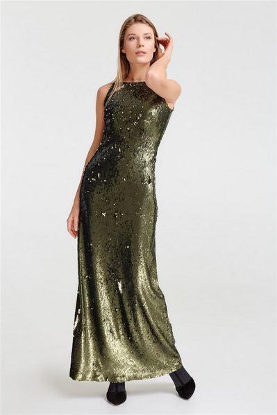 Длинное платье-майка из оливково-черных пайеток