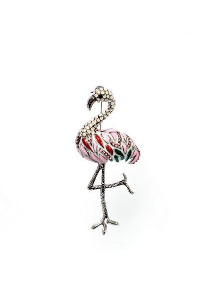 Брошь яркий фламинго со стразами