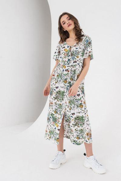 Платье с коротким рукавом полевые цветы на молочном