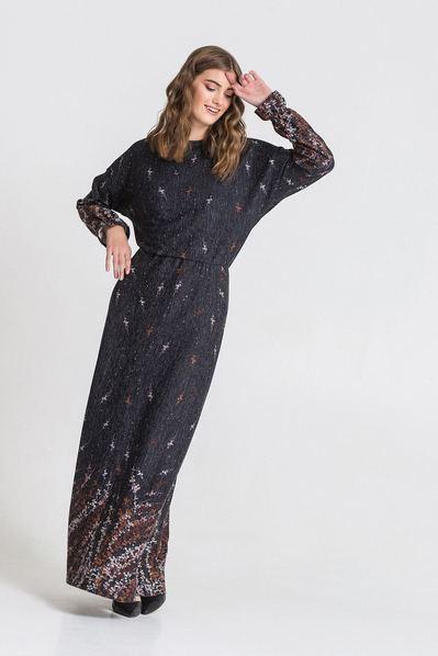 Длинное платье трикотажное с принтом графитовом фоне
