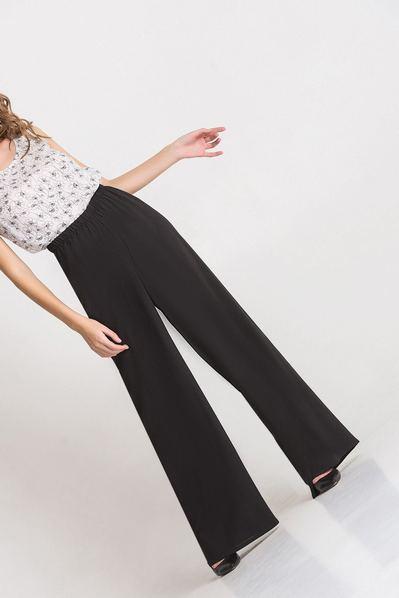 Чорні брюки-палаццо лляні