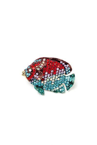 Брошь рыбка с яркими цветными стразами