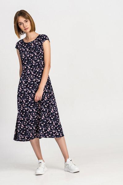 Темно-синее платье миди в розовые цветы