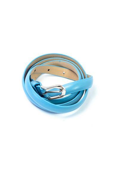 Ремень из эко-кожи тонкий голубой