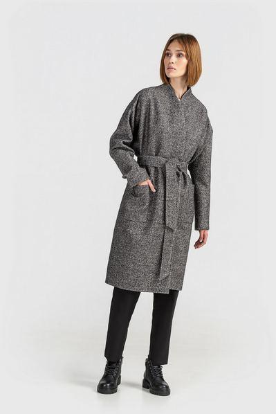 Женское пальто-кимоно с поясом графитовое