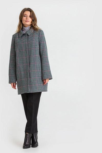 Зимове пальто з коміром принт гусяча лапка на графітовому