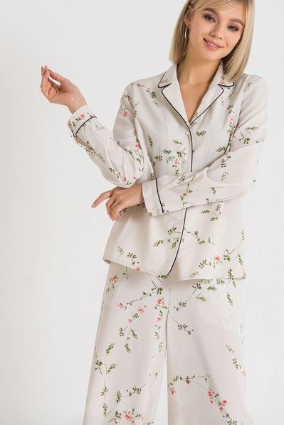 Кремово-серая блуза-жакет с цветочным принтом