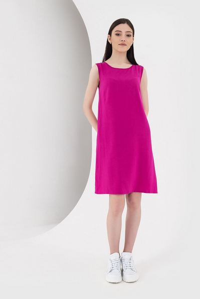 Штапельное платье майка фуксия