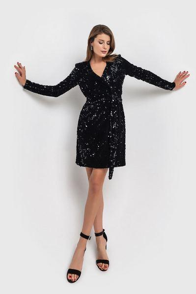 Черное платье с пайетками велюровое