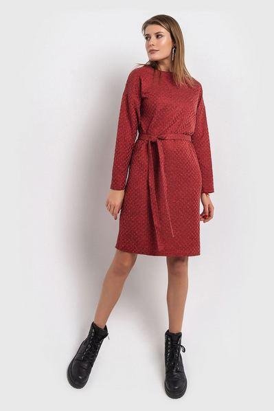 Оранжево-красное платье с поясом