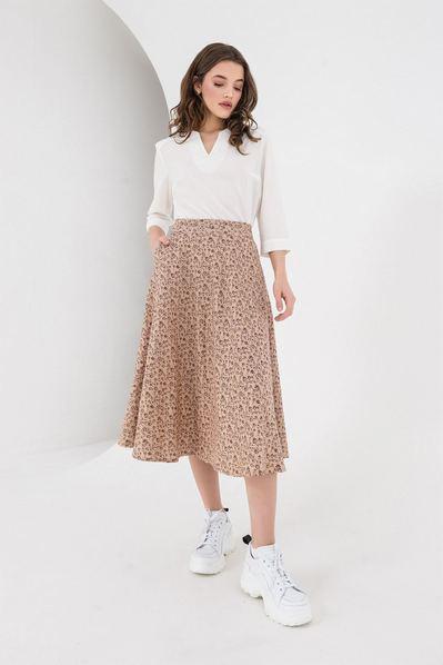 Льняная юбка полусолнце бордо мелкоцвет на айвори