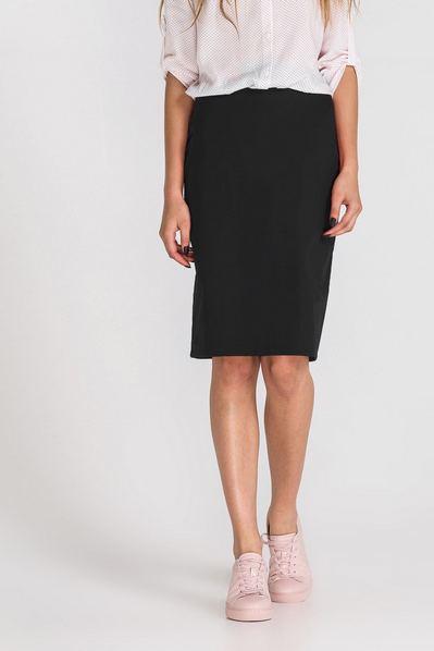 Черная юбка карандаш со шлицей