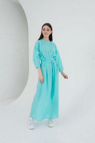 Мятное макси платье с поясом